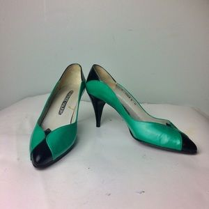 Martinez Valero Retro Emerald Green Heels